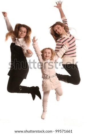 three children in the active baby dancing - stock photo