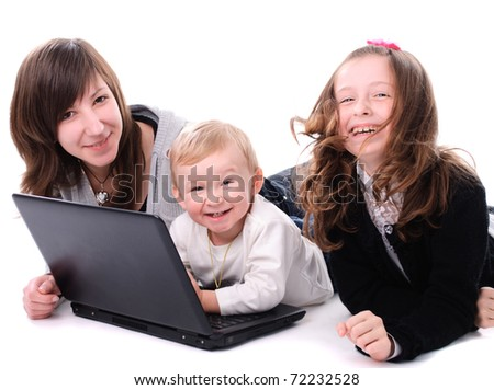 Three children play with laptop, isolated on white