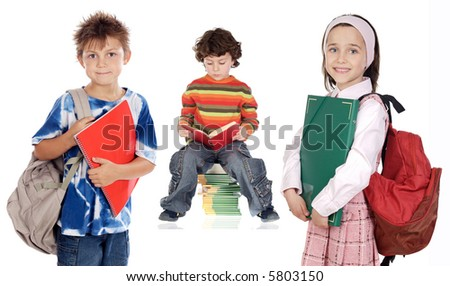 three children students a over white background