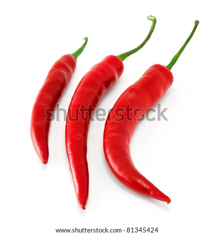 Three chili in row isolated on white background - stock photo