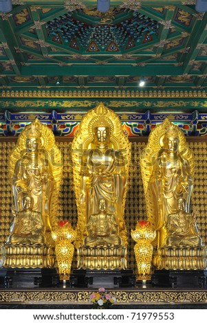 Three chinese buddha - stock photo