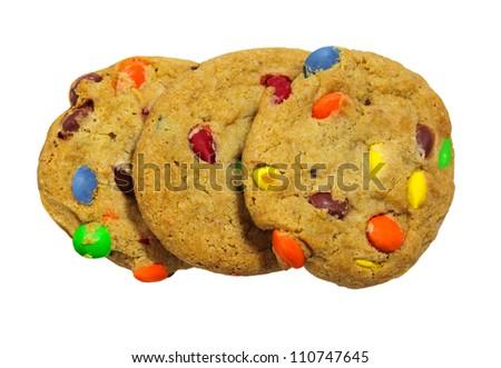 Three chocolate cookies isolated on white - stock photo