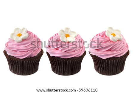 Three chocolate cupcakes with vibrant pink frosting and sugar flowers.  In a row, isolated on white. - stock photo