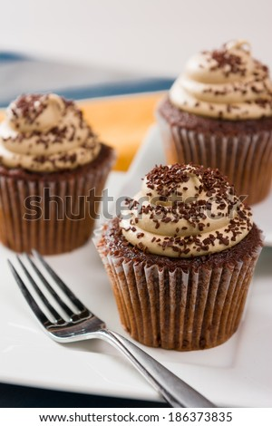 Three Chocolate Mocha Cupcakes with Sprinkles and Frosting - stock photo