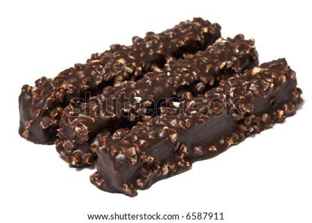 Three chocolate waffles isolated on white background - stock photo