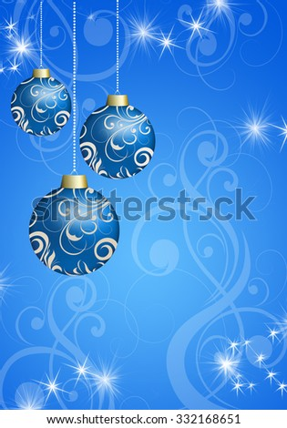 Three Christmas ball on a Christmas background with snowflakes and stars. Christmas card with space for text.