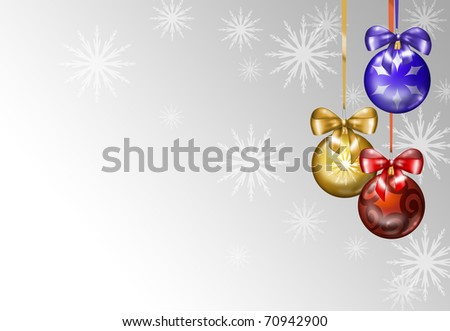 Three Christmas balls and snow.