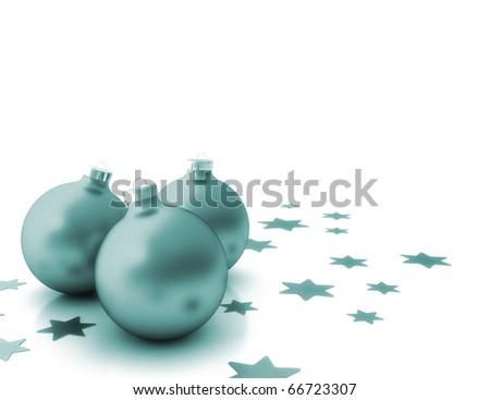 Three christmas balls isolated on white background - stock photo