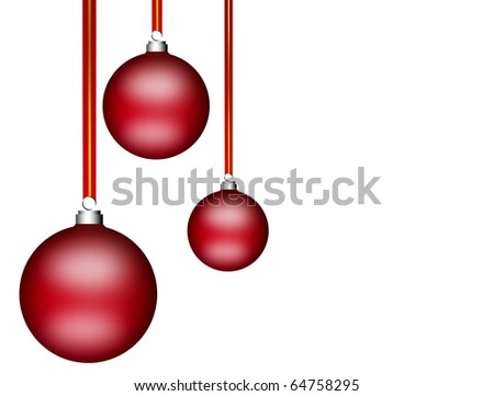 Three christmas balls on white background. illustration with copy space