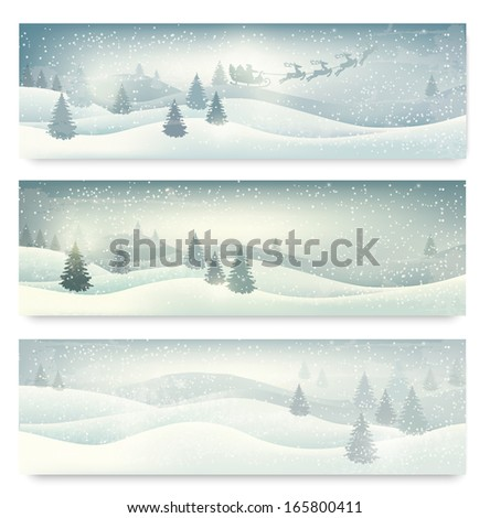 Three christmas landscape banners. Raster version of vector