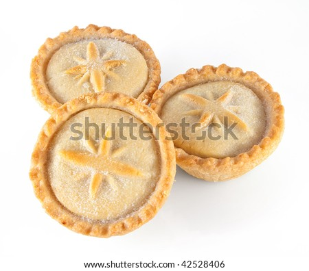 Three Christmas mince pies on a white background - stock photo