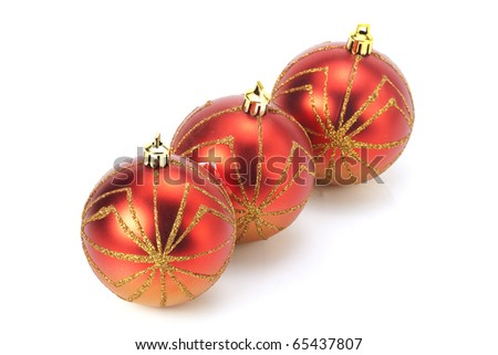 three Christmas tree balls