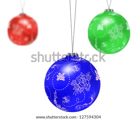 Three christmas tree balls isolated on white background.