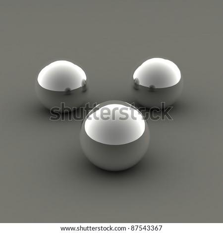 three chrome balls - stock photo