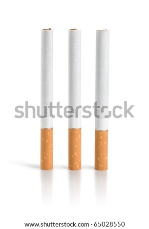 Three cigarettes Isolated (Path)(9).jpg - stock photo