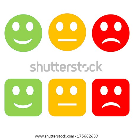 Three circle and square happy to sad smileys in white background - stock photo