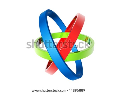 Three circles of different colors, blue, green and red on a white background