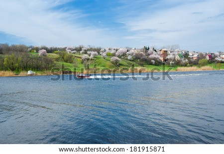 Three classic elements of typical Ukrainian landscape - sky, soil and water - stock photo