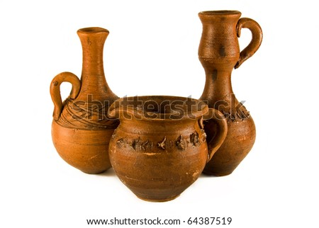 three clay vases on the white background - stock photo