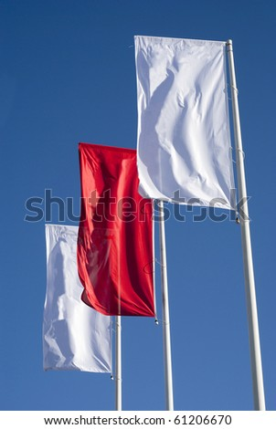 Three cleared banners. Two in white and one in red. - stock photo