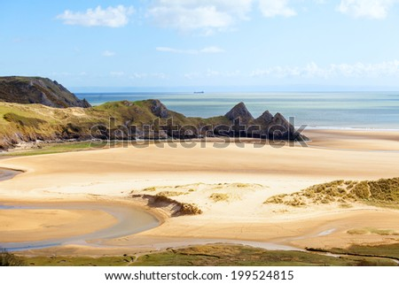 Three Cliffs Bay on the Gower Peninsula in South Wales, UK - stock photo