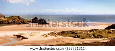 Three Cliffs Bay on the Gower Peninsula, South Wales, UK. - stock photo