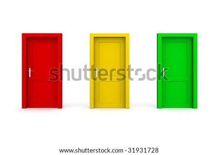 three closed doors in a a row - red, yellow, green