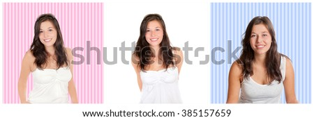 Three closeup portraits of a happy young woman, in front of different backgrounds, black and white photos - stock photo