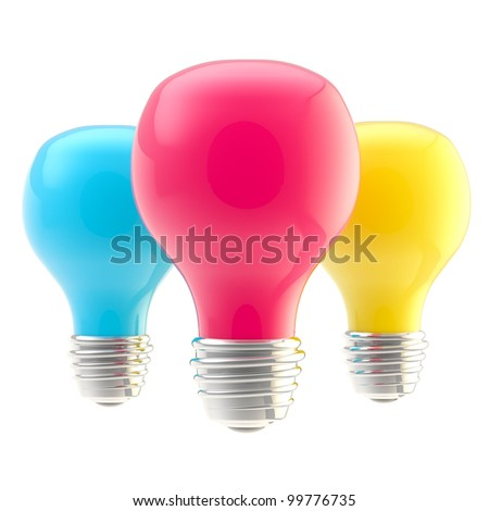 Three CMYK colored glossy bulbs isolated on white - stock photo