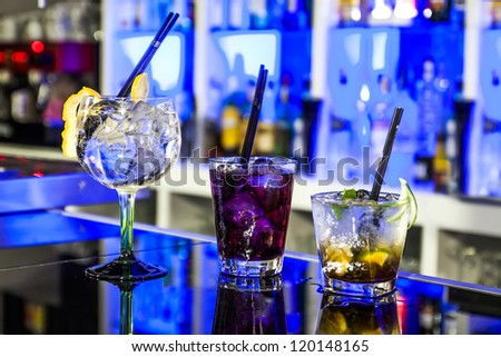 Three cocktail  in the Pub - stock photo