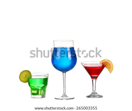 Three cocktail red blue and green isolated on white background - stock photo