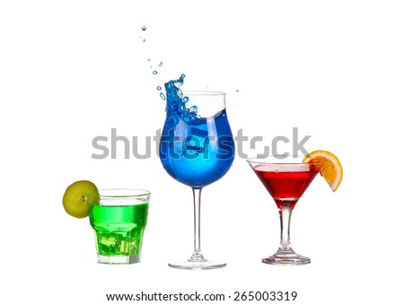 Three cocktail red blue and green isolated on white background splash - stock photo