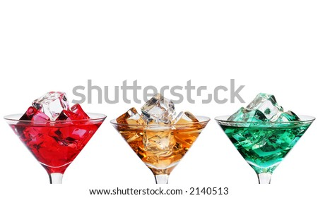 Three cocktails with ice over white; three more colors available - stock photo