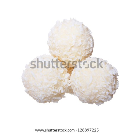 three coconut candy isolated on white background - stock photo
