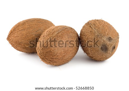 Three coconut isolated on a white background - stock photo