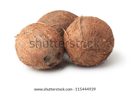 three coconuts isolated on the white background - stock photo