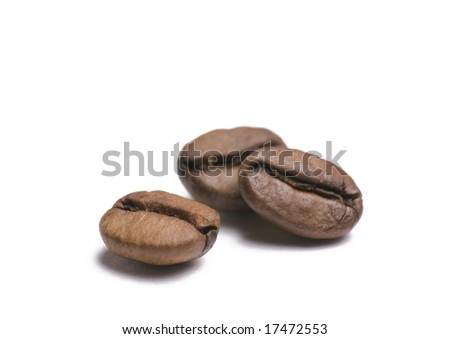 Three coffee beans isolated on white background - stock photo