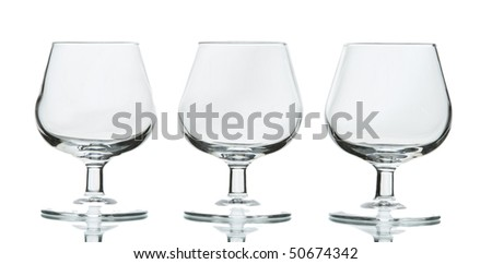 Three cognac glasses - stock photo