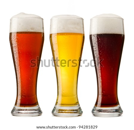 Three cold beer - stock photo