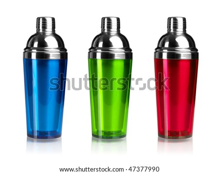 Three color cocktail shakers. Isolated on white background - stock photo