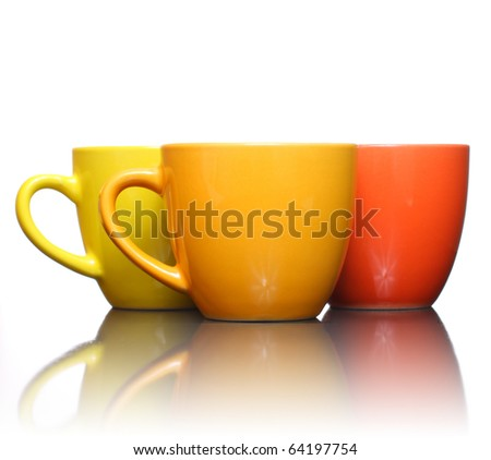Three color coffee cup - stock photo