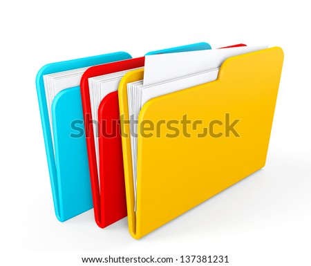 Three color folders on a white background - stock photo