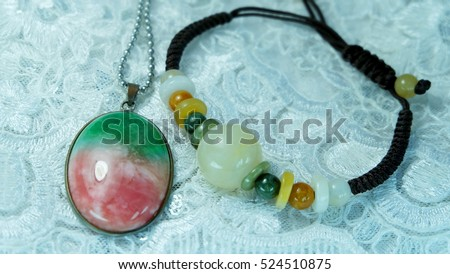 Three color jade necklace Honey Jade BraceletChinese people called the Fu Lu Shou.