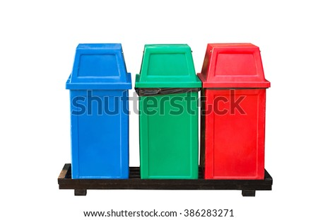 Three color of trash bin on white background - stock photo