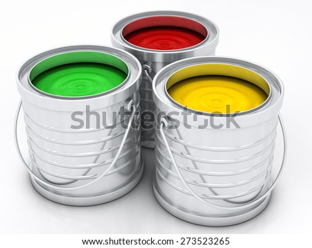 three color paint rainbow cans for renovation