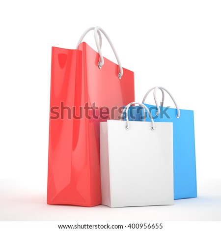 Three color paper Shopping bag isolated on white. Shopping concept 3d rendering. - stock photo