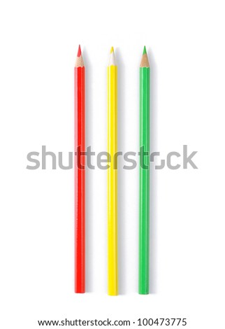 Three color pencils isolated on white - stock photo
