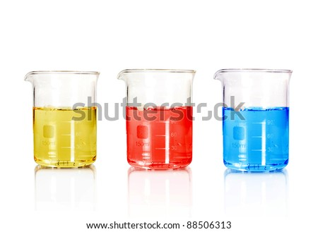 three color Test-tubes isolated on white. Laboratory glassware - stock photo