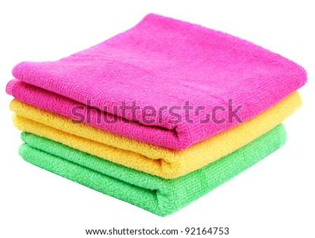 Three color towels - stock photo