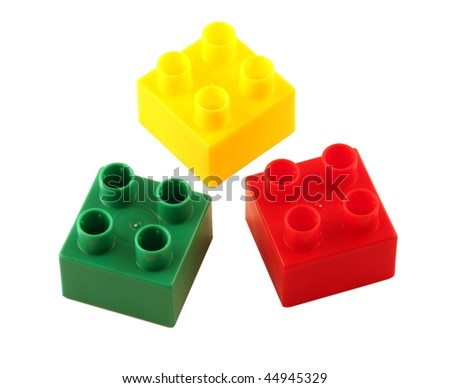 Three color toy blocks isolated on pure white - stock photo